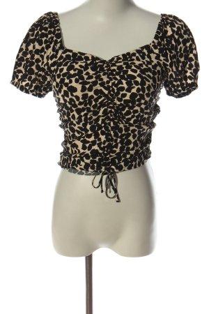 H&M Kurzarm-Bluse creme-schwarz Allover-Druck Casual-Look