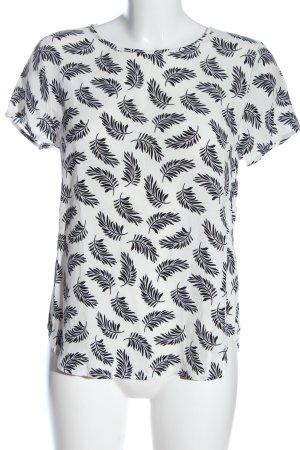 H&M Kurzarm-Bluse weiß-schwarz grafisches Muster Casual-Look