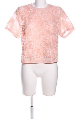 H&M Kurzarm-Bluse creme Blumenmuster Business-Look