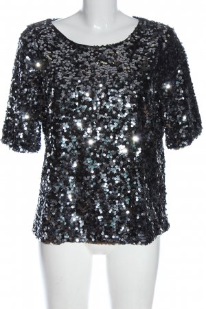 H&M Kurzarm-Bluse schwarz-silberfarben Glitzer-Optik