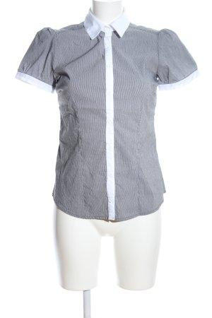 H&M Kurzarm-Bluse hellgrau-weiß Streifenmuster Business-Look