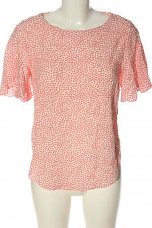 H&M Kurzarm-Bluse weiß-rot Allover-Druck Casual-Look