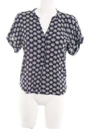 H&M Kurzarm-Bluse wollweiß-dunkelblau abstraktes Muster Beach-Look