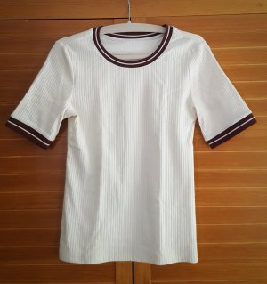 H&M Ribbed Shirt natural white-bordeaux polyester