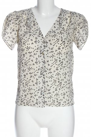 H&M Kurzarmhemd wollweiß-schwarz Punktemuster Casual-Look