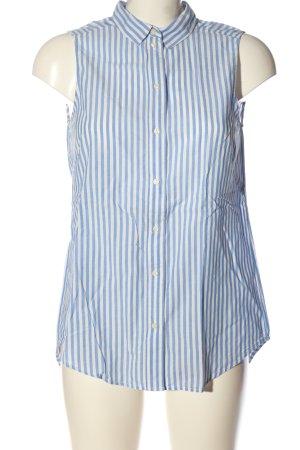 H&M ärmellose Bluse weiß-blau Streifenmuster Casual-Look