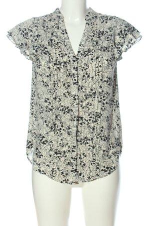 H&M Kurzarmhemd creme-schwarz Allover-Druck Casual-Look