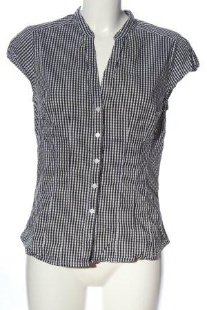 H&M Camicia a maniche corte nero-bianco motivo a quadri stile casual