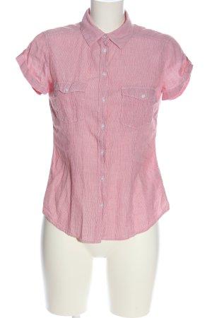 H&M Kurzarmhemd pink-weiß Streifenmuster Business-Look