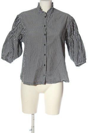 H&M Kurzarmhemd weiß-schwarz Karomuster Casual-Look