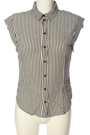 H&M Camicia a maniche corte bianco sporco-nero motivo a righe