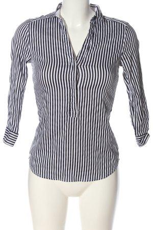H&M Koszula z krótkim rękawem czarny-biały Wzór w paski W stylu casual