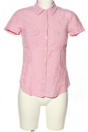 H&M Kurzarmhemd pink-weiß Streifenmuster Casual-Look