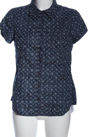 H&M Kurzarmhemd blau-weiß Allover-Druck Casual-Look
