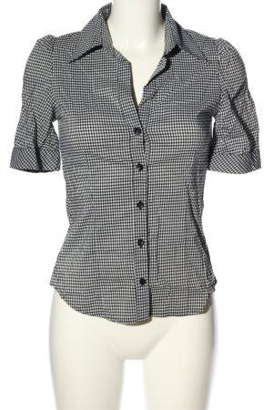 H&M Camisa de manga corta negro-blanco estampado a cuadros estilo «business»
