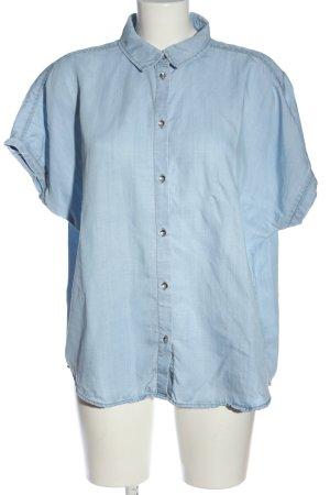 H&M Kurzarmhemd blau Casual-Look