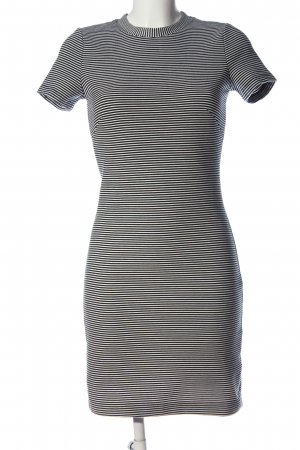 H&M Kurzarmkleid schwarz-weiß Streifenmuster Casual-Look