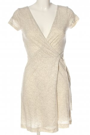 H&M Kurzarmkleid creme-braun Allover-Druck Casual-Look