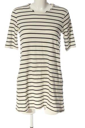 H&M Kurzarmkleid weiß-schwarz Streifenmuster Casual-Look