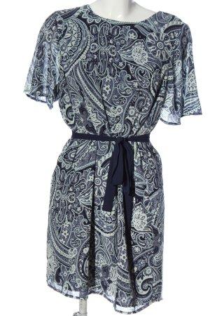 H&M Kurzarmkleid blau-wollweiß Allover-Druck Elegant