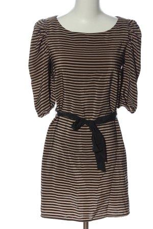 H&M Kurzarmkleid braun-schwarz Streifenmuster Casual-Look
