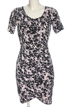 H&M Kurzarmkleid weiß-schwarz Allover-Druck Casual-Look