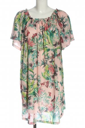 H&M Kurzarmkleid pink-grün Allover-Druck Casual-Look