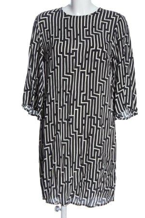 H&M Kurzarmkleid weiß-schwarz abstraktes Muster Casual-Look