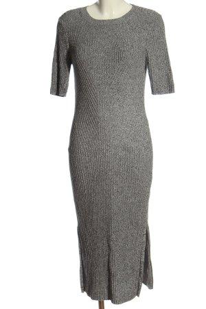 H&M Kurzarmkleid hellgrau-schwarz abstraktes Muster Casual-Look