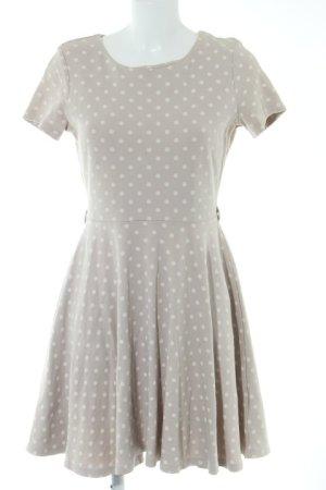 H&M Kurzarmkleid beige-creme Punktemuster Casual-Look