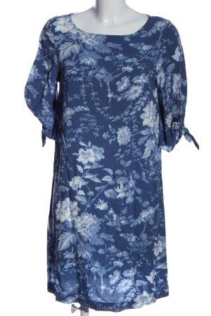 H&M Kurzarmkleid blau-hellgrau Allover-Druck Casual-Look