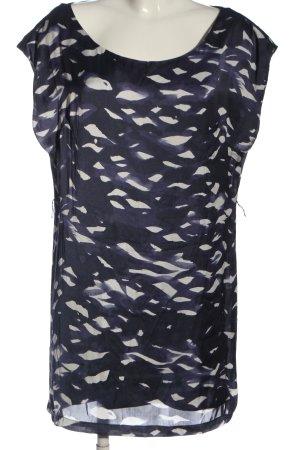 H&M Kurzarmkleid blau-weiß Allover-Druck Casual-Look