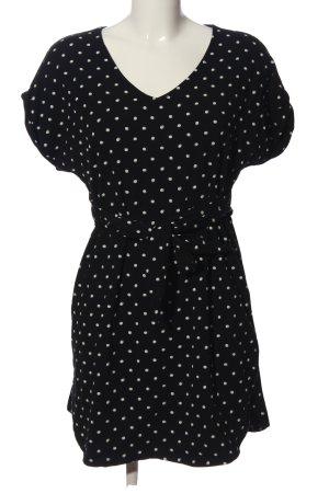 H&M Kurzarmkleid schwarz-weiß Punktemuster Casual-Look