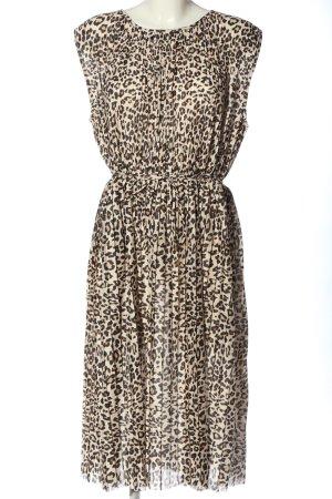 H&M Kurzarmkleid creme-schwarz Allover-Druck Elegant