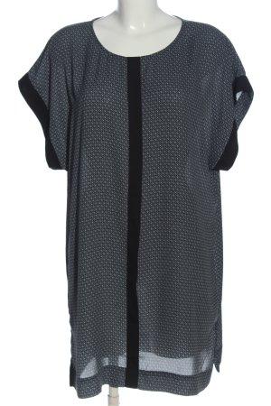 H&M Kurzarmkleid schwarz-weiß Allover-Druck Business-Look