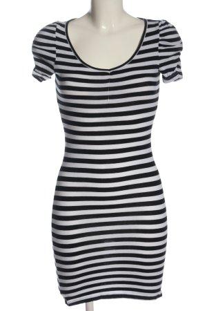 H&M Kurzarmkleid schwarz-weiß Allover-Druck Casual-Look