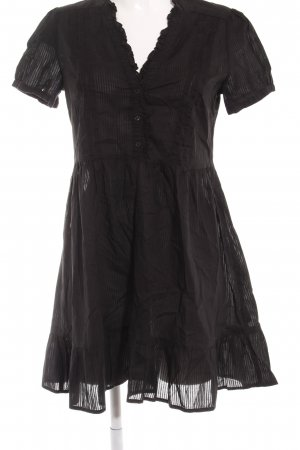 H&M Kurzarmkleid schwarz Streifenmuster Casual-Look