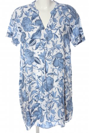 H&M Kurzarmkleid weiß-blau Allover-Druck Casual-Look