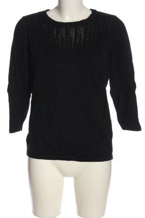 H&M Kurzarmpullover schwarz Zopfmuster Casual-Look