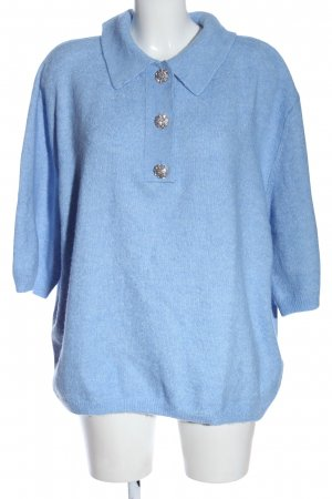 H&M Kurzarmpullover blau meliert Casual-Look