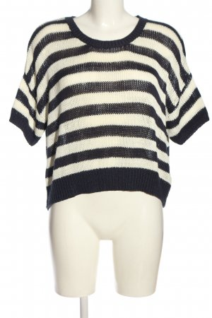 H&M Kurzarmpullover schwarz-creme Streifenmuster Casual-Look