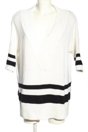 H&M Kurzarmpullover weiß-schwarz Streifenmuster Casual-Look