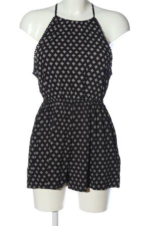 H&M Kurzer Jumpsuit schwarz-weiß Allover-Druck Casual-Look