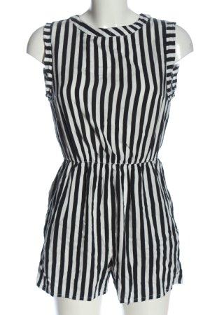H&M Kurzer Jumpsuit schwarz-weiß Streifenmuster Casual-Look