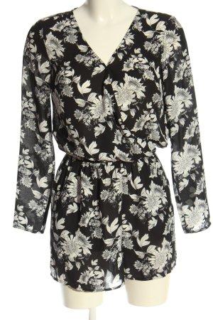 H&M Kurzer Jumpsuit schwarz-weiß Allover-Druck Elegant