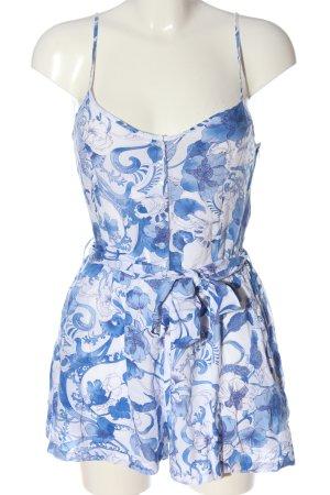 H&M Kurzer Jumpsuit blau-weiß abstraktes Muster Casual-Look