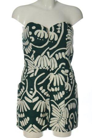 H&M Kurzer Jumpsuit weiß-grün Mustermix Casual-Look