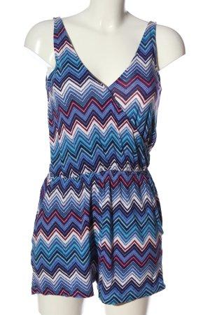 H&M Kurzer Jumpsuit blau-weiß Allover-Druck Casual-Look