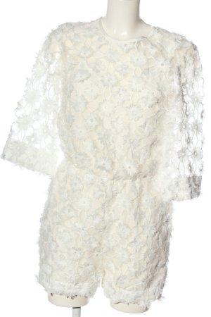 H&M Kurzer Jumpsuit weiß Blumenmuster Elegant