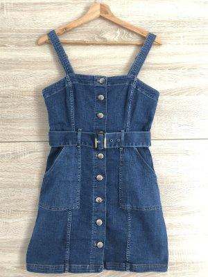 H&M kurzes Jeanskleid mit Knöpfen und Gürtel, blau